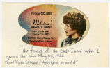Melvina's Beauty Shop Business card.