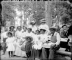 Group of people in a park picnic