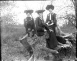 Three well dressed women sitting on tree stump