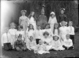 Recreation costume party group of children