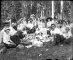Recreation picnic large group in wooded area