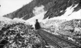 Locomotive #203, NG 2-8-0 at lower snowshed slide, MP 492 1/2, Silverton Branch