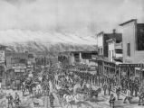 View of a part of Chestnut Street Leadville, Colorado, in the spring of 1880, when the carbonate...