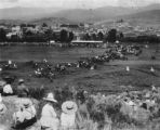 Steamboat Springs, Colorado Routt County, Pioneer Day celebration taken from Onyx Quarry? Hill...