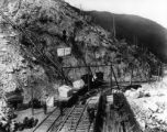 Marble loading facilities and electric tramway terminal at Yule Marble Co. quarry above Marble,...