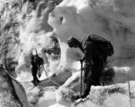 John Woodward and Peter Gabriel on Nisqually Glacier, Mount Ranier, Washington