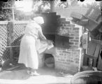 Baking bread in brick oven