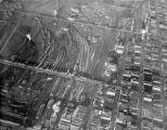 Aerial view of Denver's railyards