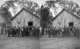 Commissary building and group of indians and half breeds - at Quapaw Agency, I. T.