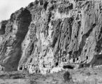 Pajarito Park Ruins James Plateau whole cliff with cave dwelling ruins