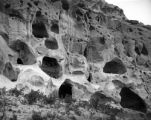 Pajarito Park Caves in cliff- general view