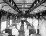 "Interior view of Ex-Wp 72'6"" dining car before remodeling"