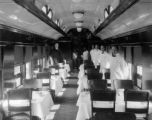 "D&RGW dining car ""Mt. Peale"" interior after installation of electric lights in 1924"