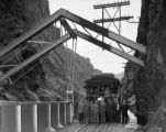 Royal Gorge westbound Scenic Limited stopped at Hanging Bridge, with Chrysler Automobile...