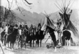 "Chief Goes-in-Lodge (on horse right) Still from early Tim McCoy film ""War Paint"" or..."