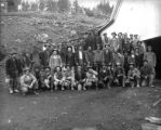 Miners at Cook Mine Bobtail [i. e. Gregory] Gulch between Black Hawk and Central City.