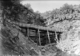 U.S. Gold Placers, No. 7, flume passing over a rocky gorge
