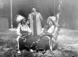 Group - William Cody with Red Cloud and American Horse, Dakota Indians, Cody standing and Indians...