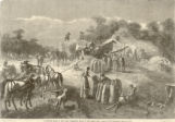 A harvest scene in the west, threshing grain in the field from a sketch by O.D. Steinberger