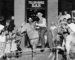 Teller House Bar Colt Bert Summers (builder) in doorway, Frank Johns (Denver Dry Goods rep, 3R...