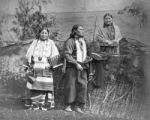 Native American man with two women