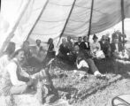 Group in tent