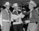At the Elkhorn Lodge camp Sid Boyd (Ediphone Co.), Dr. Bill Cody (dentist), Burr Betts (Security...
