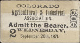 Colorado Agricultural and Industrial Association [ticket] 606