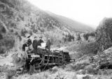 Wrecked Denver and Rio Grande Railroad locomotive