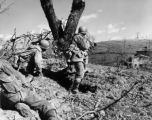 Vedetta, Italy, three members of Co. K, 87th Mountain Inf., 10th Mountain Div. cover house in...
