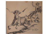 [Cowboy chasing a steer] [art original].