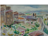 The city wall, Siena [art original] : from Garden at Palazzo Ravizza.