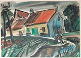 [Red-roofed house with figure]