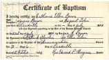 Copy of Certificate of Baptism for Catherine Ellen Brown (daughter)