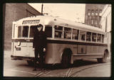 Denver Tramway Motor Coach Division building bus driver and bus