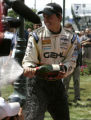 Graham Rahal celebrates winnning  the Atlantic race during the  the Grand Prix of Denver Sunday...