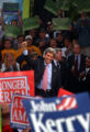 DENVER, Colo. -June 21,2004-Presidential candidate John Kerry arrives to cheering supporters...