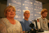 Kathy Mather and Jeff Mather talk with reporters about the courage of there son Mark Mather, far...