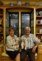 (DENVER, Colo., June 30, 2004)   Deborah and Rick Kershaw with their dogs in a window seat in...
