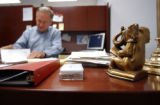 Charlevoix, MI, May 6, 2004-- A brass elephant bookend symbolising the Republican party sits on...