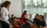 Two-time Olympian Shannon Miller, left, meets members of 5280 Gymnastics Tuesday afternoon August...