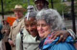 Seattle, Washington-Lois Price-Spratten, left, hugs Jean Buskin at a demonstration for peace in...