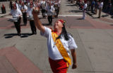 (Denver, Colo., July 6, 2004) Shriner Drum Major Larry Carrill, of  East St. Louis, leads the...