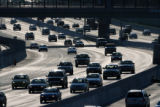 MJM1651  Rush hour traffic flows down southbound I-25 Wednesday as the T-REX project increased the...