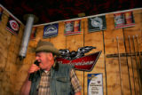 Rufus Miller, cq, Paonia, sings karaoke at the New Portal, the only bar in Somerset, Colo., on...