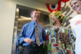 Mayor John Hickenlooper, Denver Comedian Josh Blue and Comedy Works owner Wende Curtis (cq) laugh...