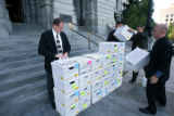 Proponents to put the Colorado Marriage Amendment on the November ballot stack full and partially...