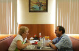 Joan Peschel, cq, Lakewood, talks with Ed Perlmutter, democratic candidate for a seat in...