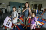 Kindergarten teacher Michelle Lang (cq) tries out saying the pledge of allegiance in her...