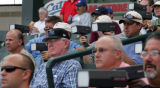 Major-league scouts use radar guns to clock the pitching speed   Fort Worth Cats pitcher Luke...